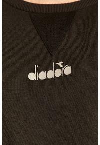 Czarna bluza Diadora z aplikacjami, z okrągłym kołnierzem