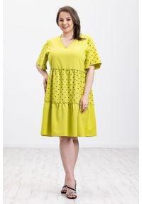 Sukienka Moda Size Plus Iwanek w kropki, na wiosnę