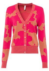 Sweter rozpinany bonprix różowo-jasny pomarańczowy z nadrukiem. Kolor: różowy. Wzór: nadruk. Styl: elegancki