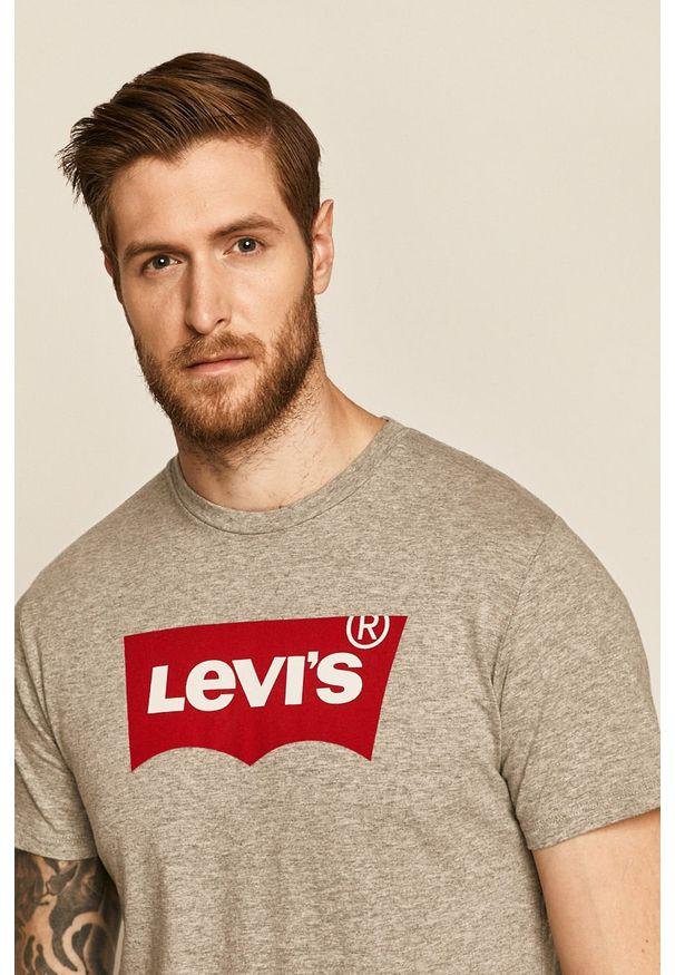 Szary t-shirt Levi's® z okrągłym kołnierzem, z nadrukiem, biznesowy, na spotkanie biznesowe