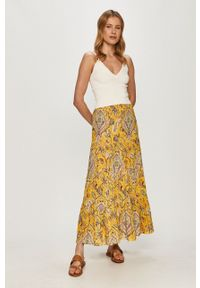 Desigual - Spódnica. Kolor: żółty. Materiał: tkanina