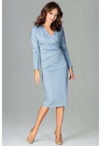 Niebieska sukienka Katrus z kopertowym dekoltem, kopertowa, elegancka