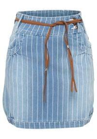"""Spódnica dżinsowa w paski bonprix niebieski """"stone"""" w paski. Kolor: niebieski. Wzór: paski"""