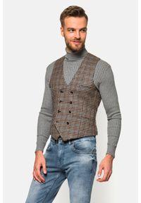 Lancerto - Kamizelka w Pepitę Flora. Typ kołnierza: golf. Materiał: jeans, wiskoza, materiał, wełna, tkanina, jedwab, poliester. Wzór: kolorowy
