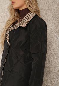 Renee - Czarna Kurtka Dwustronna Thaelala. Kolor: czarny. Materiał: tkanina. Długość rękawa: długi rękaw. Długość: długie. Wzór: nadruk