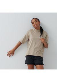 House - Luźna koszulka z bawełny organicznej - Beżowy. Kolor: beżowy. Materiał: bawełna