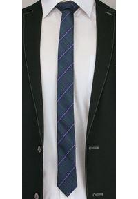 Alties - Granatowo-Zielony Stylowy Krawat (Śledź) Męski -ALTIES- 5 cm, Wąski, w Kratkę. Kolor: niebieski. Materiał: tkanina. Wzór: kratka. Styl: elegancki