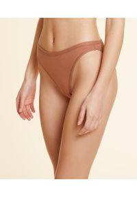 Coton 360 Culotte High Leg En Coton Bio Extensible - Xs - Brązowy - Etam. Kolor: brązowy