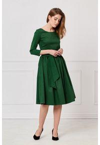 Marie Zélie - Sukienka Melia butelkowa zieleń. Okazja: na imprezę. Materiał: bawełna. Sezon: zima