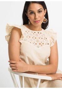 Sukienka z koronką bonprix naturalny. Kolor: beżowy. Materiał: koronka. Wzór: koronka