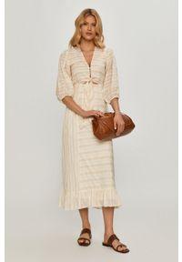 Beatrice B - Sukienka. Kolor: beżowy. Materiał: tkanina. Typ sukienki: rozkloszowane