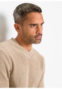 Beżowy sweter bonprix melanż, klasyczny, z dekoltem w serek