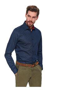 TOP SECRET - Koszula długi rękaw męska shaped fit. Kolor: niebieski. Materiał: bawełna. Długość rękawa: długi rękaw. Długość: długie. Sezon: wiosna. Styl: elegancki
