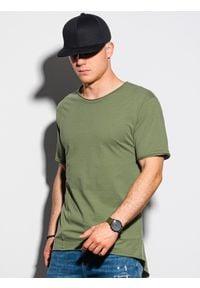 Ombre Clothing - T-shirt męski bawełniany S1378 - khaki - XXL. Kolor: brązowy. Materiał: bawełna