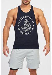 Czarny t-shirt IVET bez rękawów, z nadrukiem, sportowy