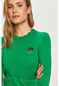 Zielony sweter Pinko z długim rękawem, długi, na co dzień, z aplikacjami