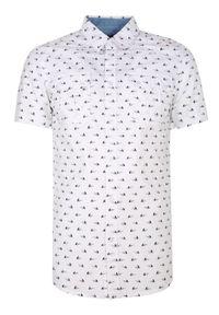 Biała koszula TOP SECRET na lato, z krótkim rękawem, krótka, z nadrukiem