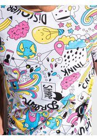 Ombre Clothing - T-shirt męski z nadrukiem S1421 - biały - XXL. Kolor: biały. Materiał: bawełna, poliester, jeans. Wzór: nadruk. Sezon: wiosna