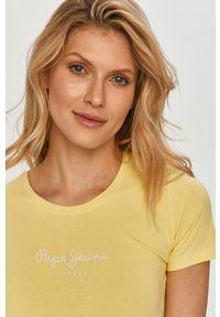 Żółta bluzka Pepe Jeans casualowa, na co dzień, z nadrukiem #5
