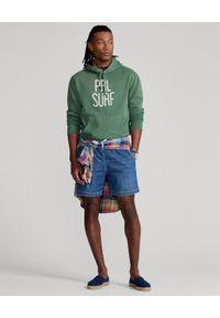 Ralph Lauren - RALPH LAUREN - Zielona bluza z kapturem PRL Surf Fleece. Typ kołnierza: kaptur. Kolor: zielony. Materiał: bawełna. Wzór: nadruk