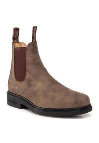 Brązowe buty zimowe Blundstone na średnim obcasie, na obcasie, z cholewką