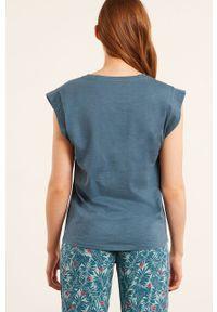 Etam - T-shirt piżamowy Blaise. Kolor: niebieski. Długość: krótkie. Wzór: nadruk