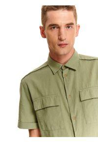 TOP SECRET - Koszula z lnem taliowana. Okazja: na co dzień. Kolor: zielony. Materiał: len. Długość rękawa: krótki rękaw. Długość: krótkie. Sezon: lato, wiosna. Styl: casual #6