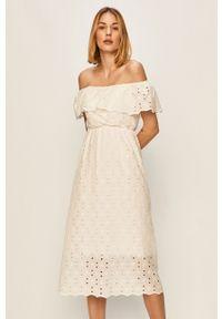 Biała sukienka ANSWEAR rozkloszowana, bez ramiączek
