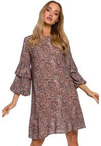 MOE - Trapezowa sukienka mini z falbanami wzór paisley styl BOHO. Okazja: na co dzień. Materiał: materiał. Wzór: paisley. Typ sukienki: trapezowe. Styl: boho. Długość: mini