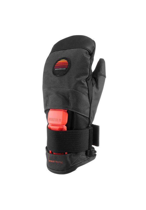 DREAMSCAPE - Rękawice jednopalczaste snowboardowe MI 500 JR Protect dla dzieci. Kolor: szary. Materiał: materiał. Sport: snowboard