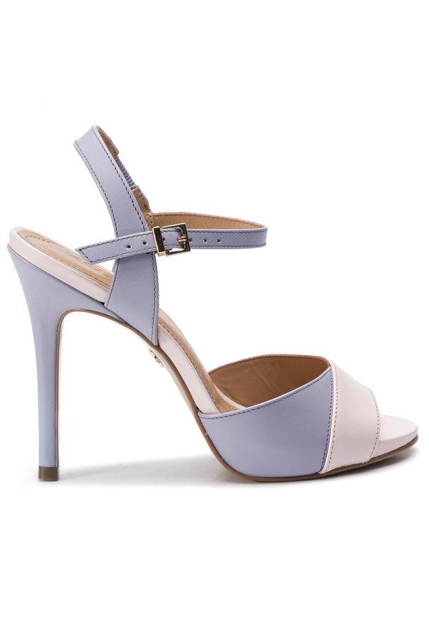 Fioletowe sandały Kazar eleganckie, w kolorowe wzory