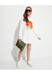 Kenzo - KENZO - Biała sukienka z nadrukiem. Kolor: biały. Materiał: bawełna. Długość rękawa: długi rękaw. Wzór: nadruk. Długość: mini