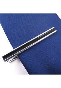 Adam Collection - Srebrna spinka do krawata z czarnym środkiem ZS11. Kolor: srebrny, wielokolorowy, czarny