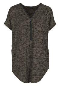 Shirt oversize z zamkiem bonprix ciemnooliwkowy melanż. Typ kołnierza: dekolt w serek. Kolor: zielony. Wzór: melanż