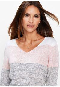 Długi sweter Premium z kaszmirem bonprix pastelowy jasnoróżowy - szary melanż. Kolor: różowy. Materiał: kaszmir, poliester, poliamid, wiskoza, materiał. Długość: długie. Wzór: melanż