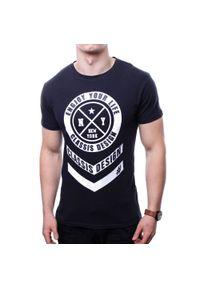 Czarny t-shirt z nadrukiem Recea casualowy, z krótkim rękawem