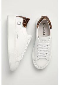 Białe buty sportowe D.A.T.E. na średnim obcasie, na obcasie