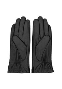 Wittchen - Damskie rękawiczki ze skóry z zamszową wstawką. Kolor: czarny. Materiał: skóra. Styl: klasyczny