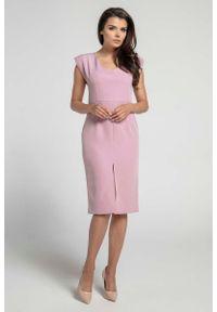 Różowa sukienka Nommo elegancka, z aplikacjami