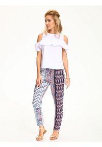 Różowe spodnie TOP SECRET na lato, w kolorowe wzory, długie