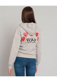 COMME DES GARCONS PLAY - Rozpinana szara bluza z sercami. Okazja: na spacer, na co dzień. Kolor: szary. Materiał: bawełna, jeans. Wzór: nadruk. Styl: klasyczny, casual