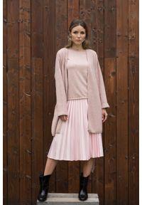 Różowy sweter VEVA z nadrukiem, boho, długi, z długim rękawem