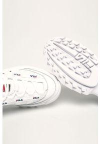Białe buty sportowe Fila na sznurówki, z okrągłym noskiem