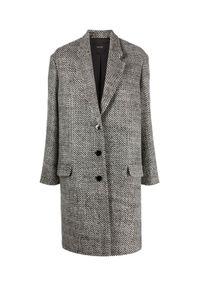 ISABEL MARANT - Wełniany płaszcz Fegozi. Kolor: czarny. Materiał: wełna. Długość rękawa: długi rękaw. Długość: długie. Styl: klasyczny