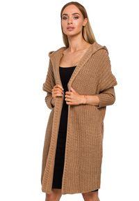 Sweter MOE z kapturem, z długim rękawem, elegancki, długi