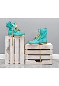 Zapato - dziurkowane botki za kostkę - skóra naturalna - model 428 - kolor miętowy. Okazja: na spacer. Wysokość cholewki: za kostkę. Kolor: miętowy. Materiał: skóra. Wzór: ażurowy. Styl: sportowy