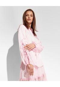 Ermanno Firenze - ERMANNO FIRENZE - Różowa koszula z bufiastymi rękawami. Okazja: na spotkanie biznesowe, do pracy. Kolor: różowy, fioletowy, wielokolorowy. Materiał: wiskoza, tkanina, satyna, koronka. Długość: długie. Styl: elegancki, klasyczny, biznesowy