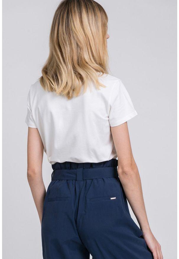 Biały t-shirt Monnari z krótkim rękawem, casualowy, z nadrukiem, na co dzień