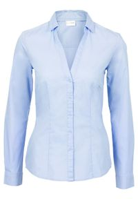 Bluzka ze stretchem bonprix perłowy niebieski. Kolor: niebieski. Długość rękawa: długi rękaw. Długość: długie