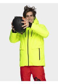 Żółta kurtka snowboardowa 4f na zimę, ze stójką